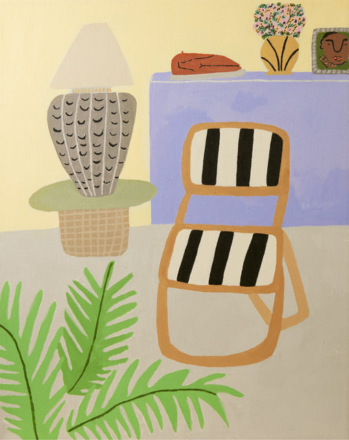 , 'Interior with Striped Chair,' 2017, Ochi Projects