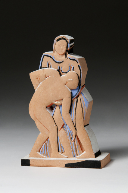 John Storrs, 'Woman and Soldier', 1940-1951, Sculpture, Terracotta with applied paint, Forum Gallery