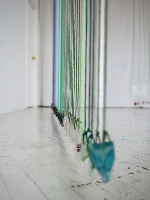 Claudia Peña Salinas, 'Teotihuacan III', 2018, Installation, Brass, dyed cotton and found objects, CURRO