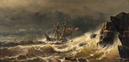 Ship in Peril in a Stormy Sea
