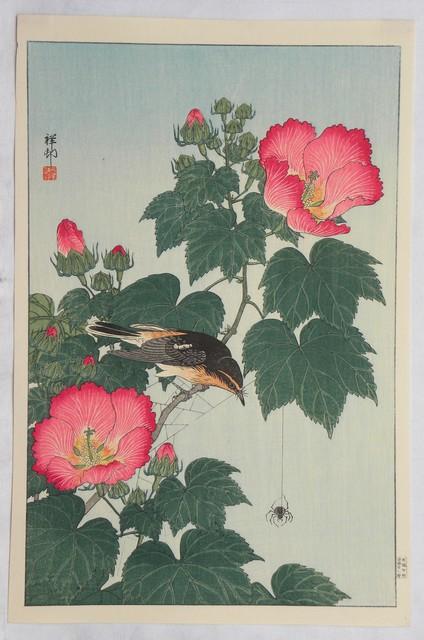 , 'Fly-catcher on Rose Mallow Watching Spider,' ca. 1932, Scholten Japanese Art