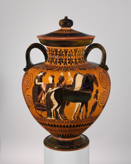 Attributed to Exekias, 'Terracotta neck-amphora (jar) with lid and knob (27.16)', ca. 540 B.C., The Metropolitan Museum of Art
