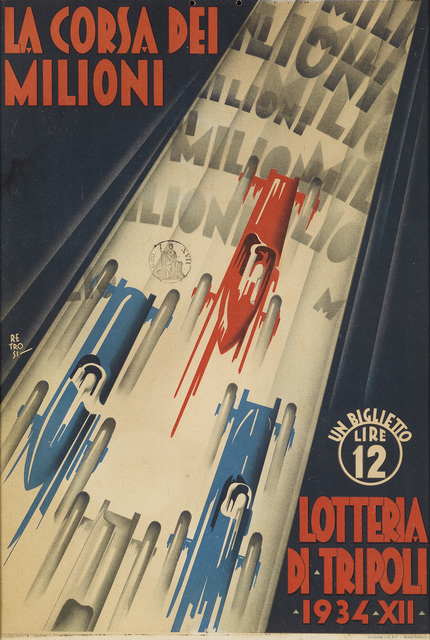 Virgilio Retrosi, 'LA CORSA DEI MILIONI / LOTTERIA DI TRIPOLI', 1934, Swann Auction Galleries