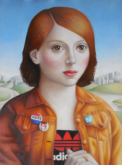 , 'Young Woman in Orange Jean Jacket,' 2017, Lois Lambert Gallery