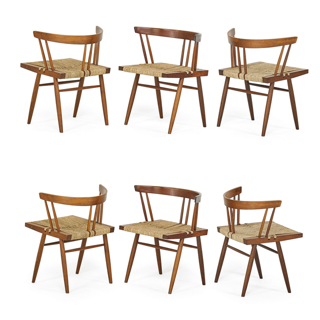 George Nakashima, 'Set Of Six Grass-Seated Chairs, New Hope, PA', Rago/Wright