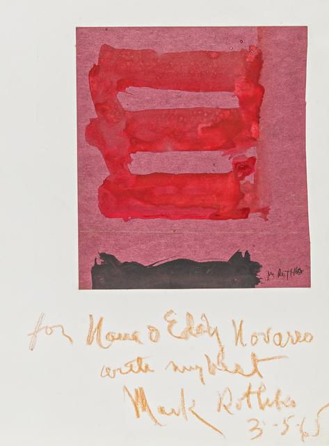 Mark Rothko, 'Untitled', 1965, Mixed Media, Mixed media on coloured card, mounted on SCHOELLER TURM (blind stamp), Van Ham