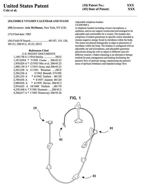 , 'Chakra Calling Patent Paperwork,' 2017, AA LA