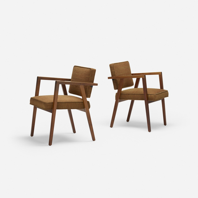 Franco Albini, 'armchairs model 48, pair', 1949, Design/Decorative Art, Walnut, upholstery, Rago/Wright