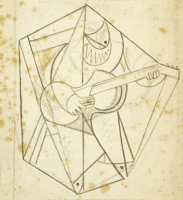 Marie Vorobieff Marevna, 'Cubist man playing a guitar (recto), sketch of a man and woman(verso)', c.1912-1914, Roseberys