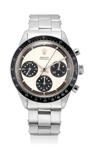 """Rolex, 'A fine and very rare stainless steel chronograph wristwatch with """"Paul Newman"""" dial and bracelet', Circa 1968, Phillips"""