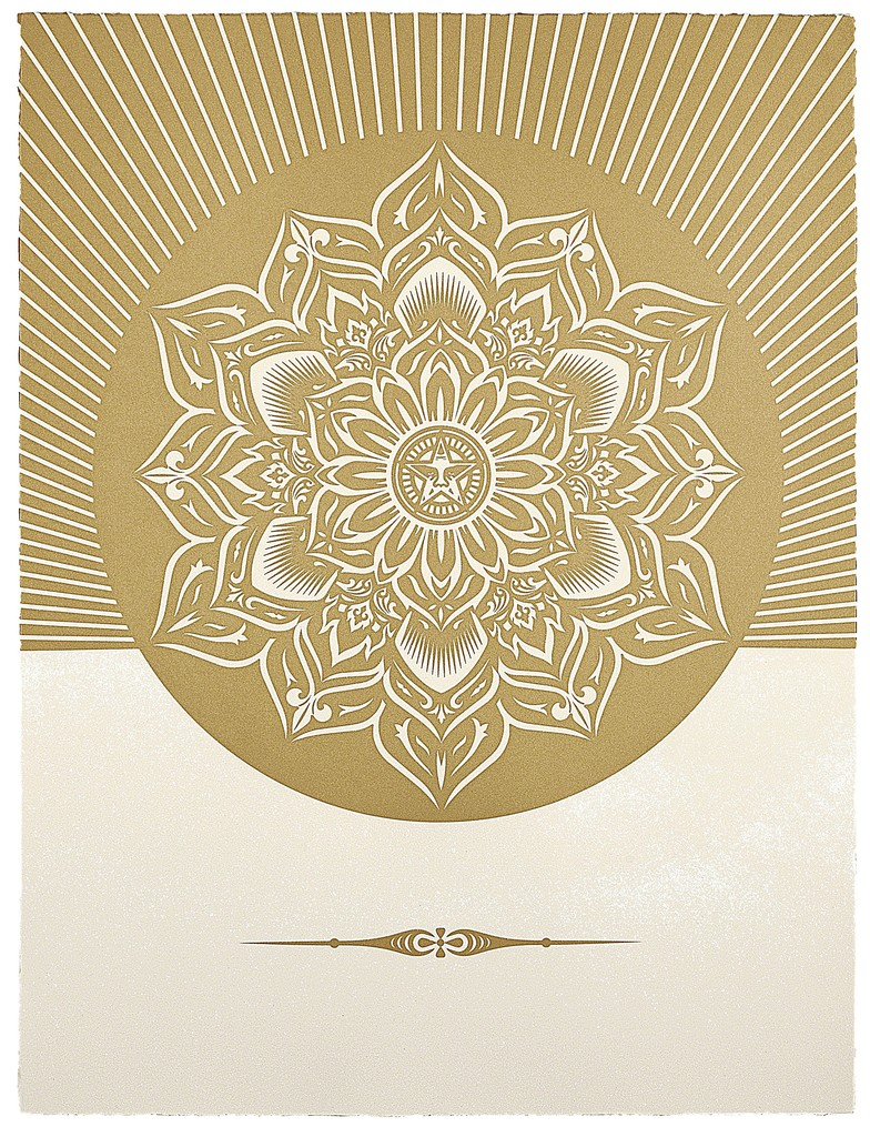Shepard Fairey, 'Obey Lotus Diamond (White and Gold),' 2012, Paul Stolper Gallery