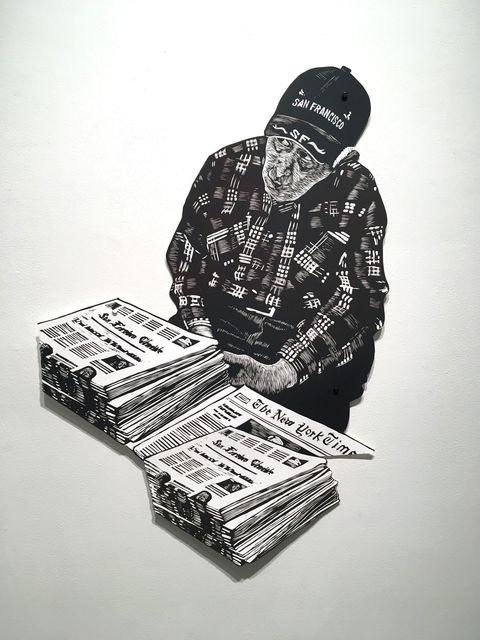 , 'Muni Station News Vendor with Newspaper stack,' 2019, Kala Art Institute