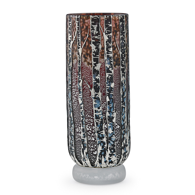 Jonathan Harris, 'Vase With Birch Trees, England', 2015, Design/Decorative Art, Acid-Etched Internally Decorated Glass, Foil Inclusions, Rago/Wright
