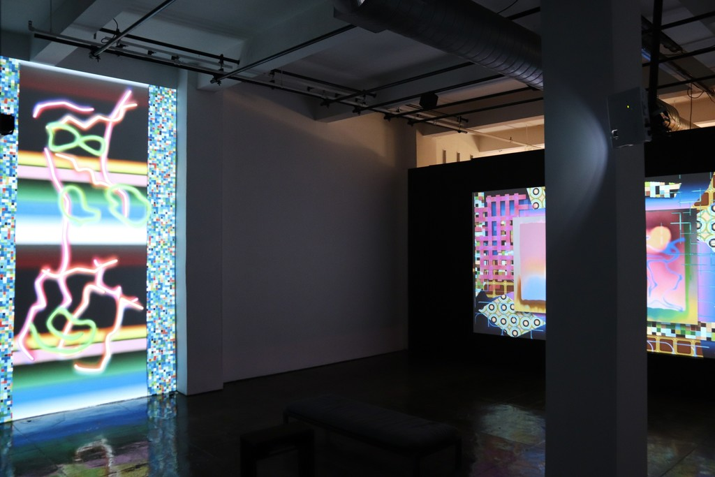 "Installation view of ""Global Illuminations"" and ""Male.Dictions"""