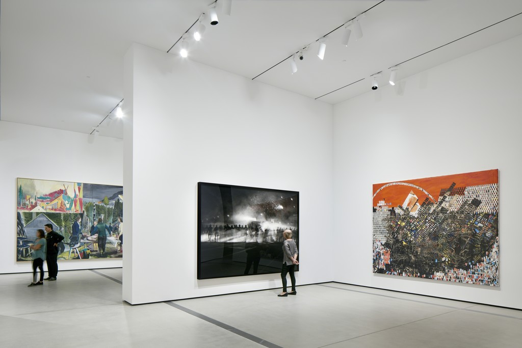 Installation of works by Neo Rauch, Robert Longo and Mark Bradford in The Broad's first-floor galleries; photo by Bruce Damonte, courtesy of The Broad and Diller Scofidio + Renfro