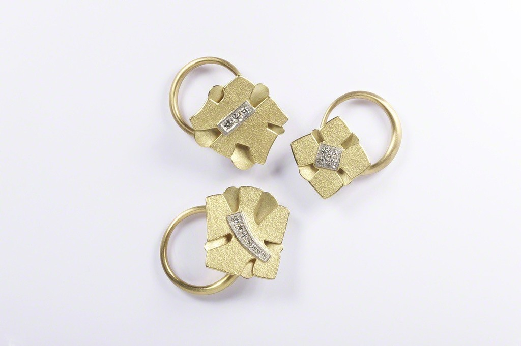 gold set diamond rings pave bridal ct yellow three