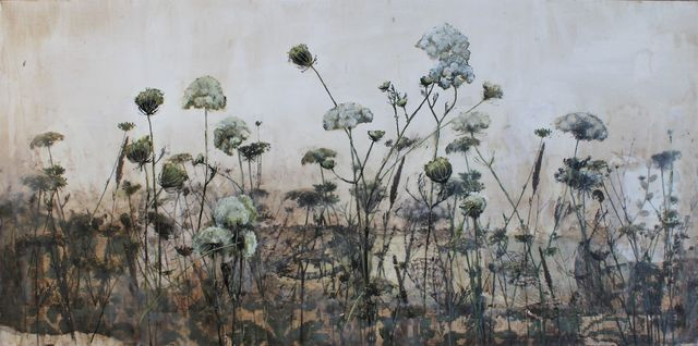 Diana Majumdar, 'Field of Queen Anne Lace', 2018, Mixed Media, Fabric and paper collage on board, photo transfers, encaustic and oil paint, Seager Gray Gallery