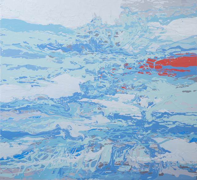 , 'bluesilvergreyred pour,' 2015, Heather Gaudio Fine Art