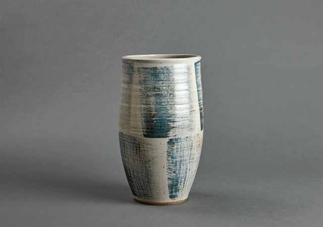 , 'Cylindrical vase, petalite and feldspar glaze with engobe brushwork,' , Pucker Gallery