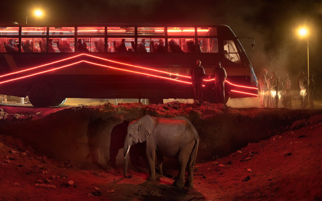 Nick Brandt, 'Bus Station with Elephant & Red Bus', 2018, Fahey/Klein Gallery