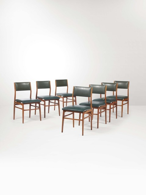 Eugenio Quarti, 'Seven chairs with a wooden structure and skai upholstery', 1950 ca., Design/Decorative Art, Cambi