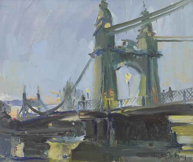 , ' Winter Nightfall, Hammersmith Bridge ,' 2017, Portland Gallery