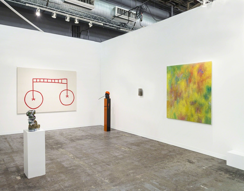 Exhibition view Armory Show 2015. Galerie Valentin, Paris. With: Jean-Baptiste Bernadet, Stephen Felton, Laurent Grasso, Donna Huanca, Brian Kokoska, Anne Neukamp. © Cary Whittier / Courtesy of the artists and Valentin, Paris.