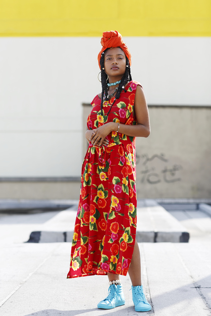 , 'Hip, young African American model wearing summer dress ,' , Getty Images Gallery
