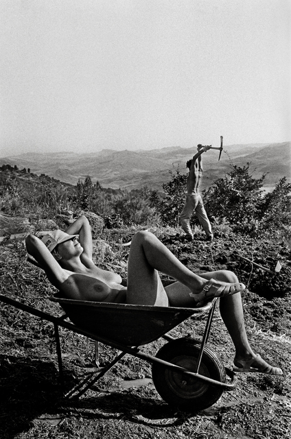 , 'Silvia sunbathes while Franco hoes the ground, Polizzi Generosa, Sicily,' 1984, ILEX Gallery
