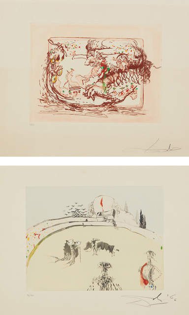 Salvador Dalí, 'La Télévision; and La Tauromachine au tiroir, from Tauromachie surréaliste (Television; and Bullfight in a Drawer, from Surrealistic Bullfight)', 1966-67, Phillips