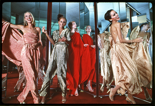 , 'Halstonettes: Karen Bjornsen, Alva Chinn, Connie Cook, and Pat Cleveland in Halston Dresses, New York,' 1977, Staley-Wise Gallery