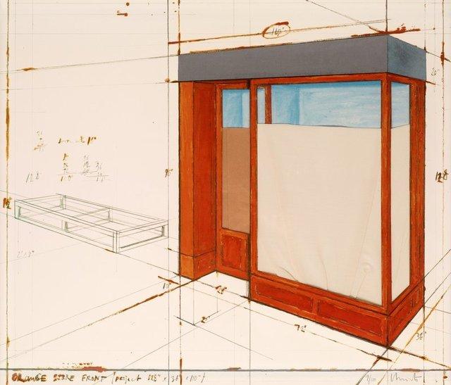 Christo, 'Orange Store Front', Kunzt Gallery