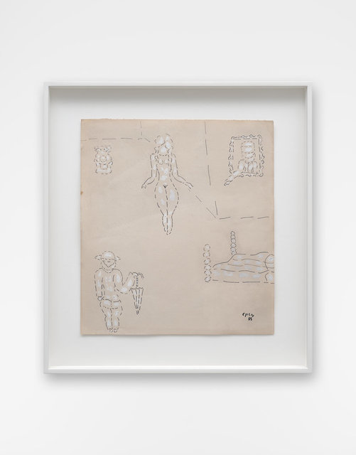 William Nelson Copley, 'Untited', 1965, Drawing, Collage or other Work on Paper, Crayon, opaque white on brownish paper, Wentrup