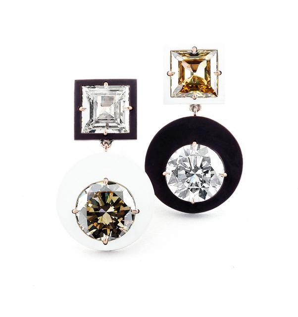 , 'Diamond, Brown Diamond, Ceramic and 18k Rose Gold Ear Pendants,' , Taffin