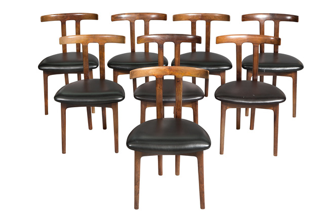 'Set of Eight Ole Wanscher Rosewood T Dining Chairs', 1950s, Design/Decorative Art, Doyle