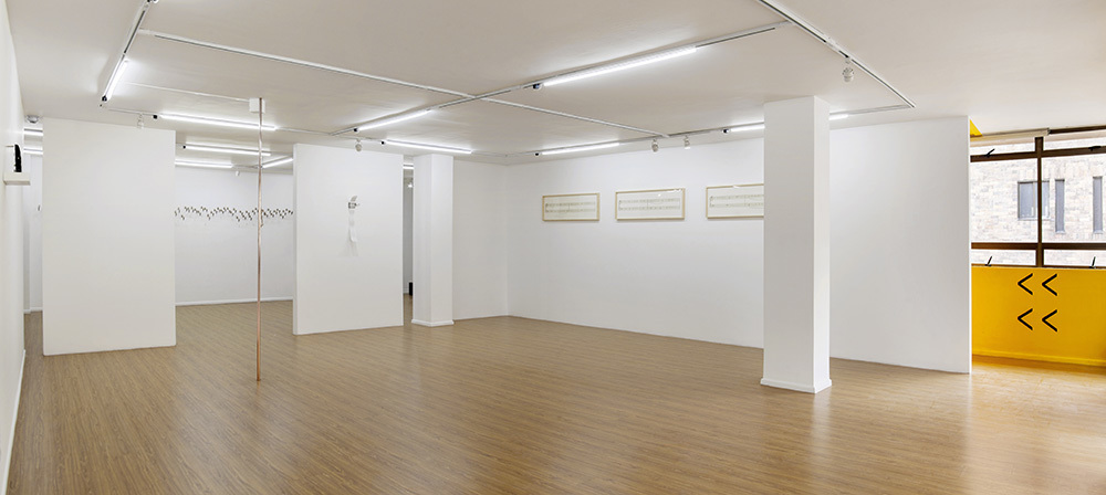 """Panoramic of the exhibition Triptych """"Silencios"""", """"Gbodi"""", """"Ola"""" and """"Martillo"""" are shown here"""