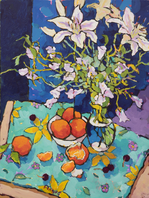 , 'Bellflowers Hanging Over Tangerines,' 2018, Ventana Fine Art