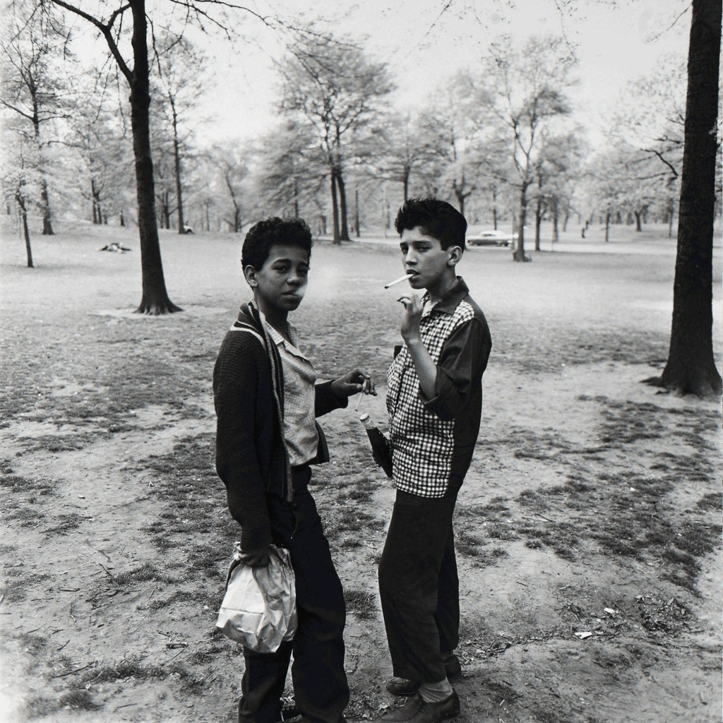 Two Boys Smoking in Central Park, NYC