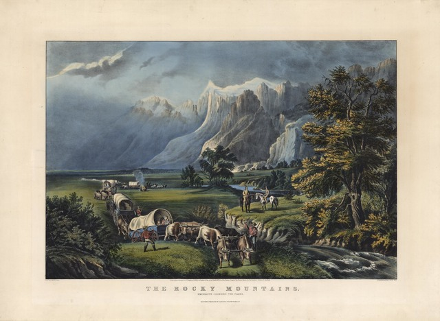 Currier & Ives, 'The Rocky Mountains. : Emigrants Crossing the Plains.', 1866, The Old Print Shop, Inc.