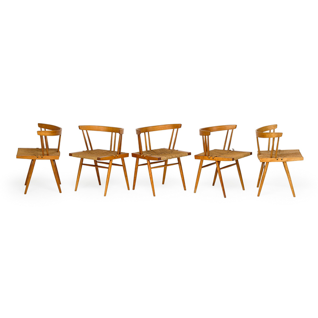 George Nakashima, 'Set of five Grass-Seated chairs, New Hope, PA', Rago/Wright
