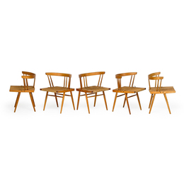 Set of five Grass-Seated chairs, New Hope, PA
