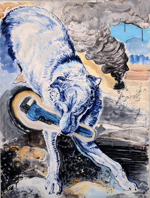 Chaz John, 'Rez Dog with Monkey Wrench', 2018, Ellsworth Gallery