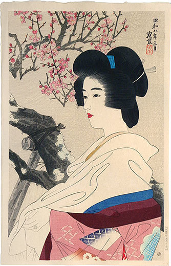 Itō Shinsui, 'The Second Collection of Modern Beauties: Red Blossoms', 1933, Scholten Japanese Art