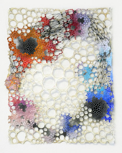 , 'Atomic Enso- Abstract Geometric Molecular Painting on Paper and Mixed Media,' 2017, Muriel Guépin Gallery