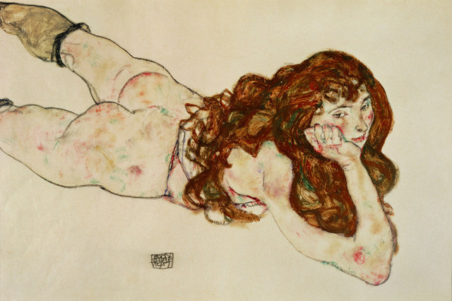 Egon Schiele, 'Female Nude on Her Stomach,' 1917, Erich Lessing Culture and Fine Arts Archive