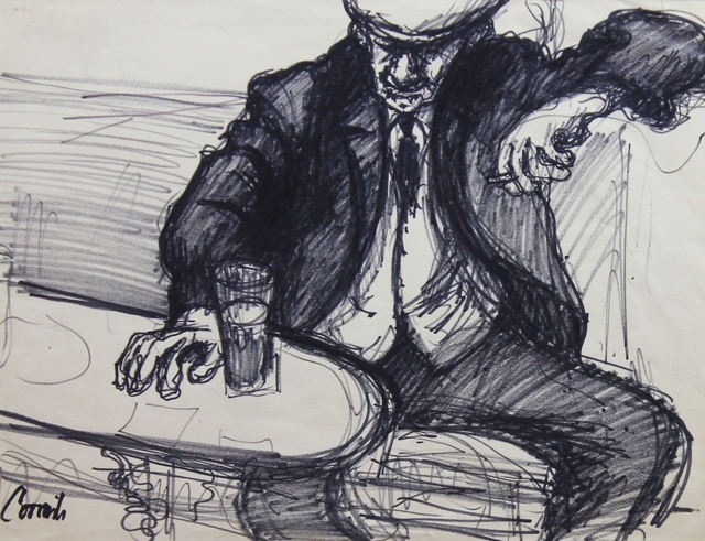 , 'Man sat at table smoking and drinking ,' ca. 1965, Castlegate House Gallery