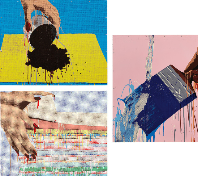 Marilyn Minter, 'Hands Dumping; Hands Washing; and Hands Folding (L. P. pp. 150-151, pl. 51, 52, 53)', 1989, Print, Three screenprints in colors, on aluminum panel mounted to metal strainer (as issued), the full sheets., Phillips
