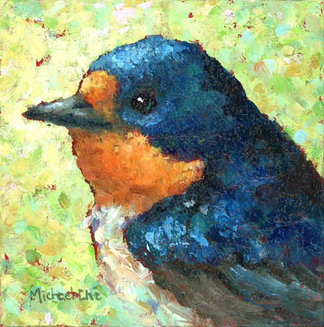 """Michael-Che Swisher, '""""Wide and Wonderful"""" Oil portrait of a blue and orange bird with green and yellow background', 2019, Eisenhauer Gallery"""