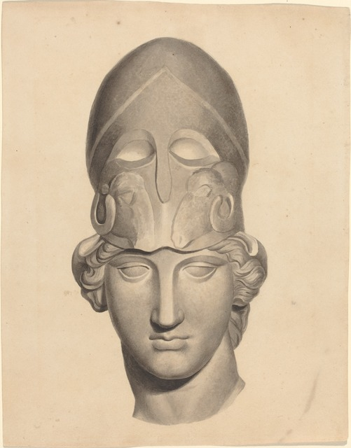 John Flaxman, 'Antique Head with a Helmet', Drawing, Collage or other Work on Paper, Brush and gray ink with gray wash, National Gallery of Art, Washington, D.C.