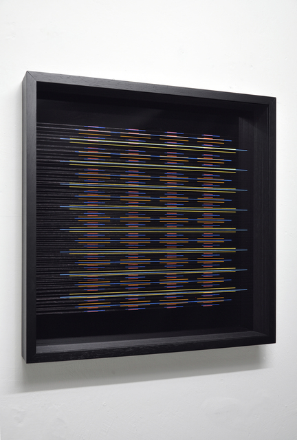 Paolo Cavinato, 'Iridescence 12 (blanket)  60x60 ', 2019, Painting, Enamel and acrylic on fluorocarbon line, Museum Glass, wood frame, aluminium background, The Flat - Massimo Carasi